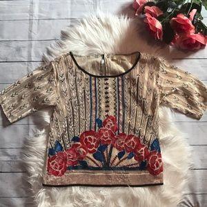 Anthropologie Moulinette Soeurs Velvet Floral Top